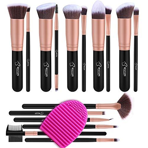 BESTOPE Make up Pinsel Set 16 Stück Premium Kosmetik mit Synthetisches Haar Pinselset kosmetik Kabuki Foundation Blush Eyeshadow Eyeliner Schminkpinsel Kosmetikpinsel set mit Pinselreiniger (Rosa Gold) (Synthetische Haar-mischung)