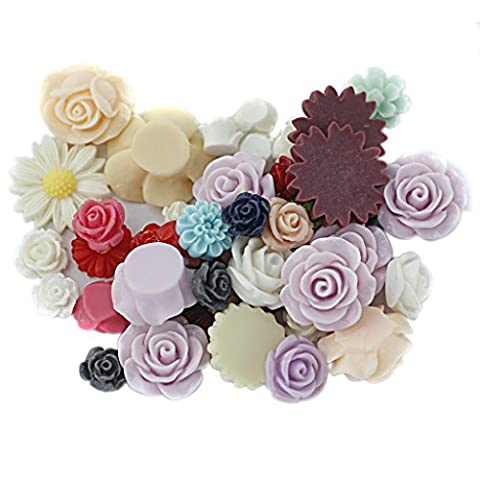 MagiDeal Pack of 50 Assorted Colors Size Resin Rose Flower Flatback Cabochons