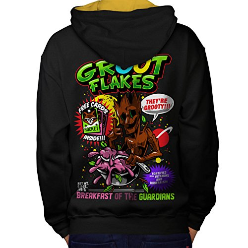 Weiblich Groot Kostüm (Groot Flakes Comic Müsli Held Men M Kontrast Kapuzenpullover Zurück |)