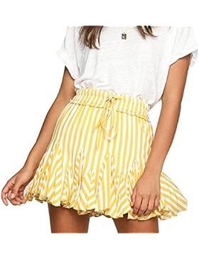 Falda de la raya de la moda de la falda de las mujeres, falda oscilación plisada elástico elegante del oscilación...