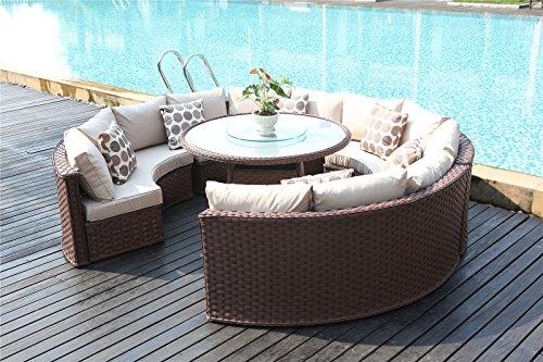 Pleasing Yakoe Monaco 10 Seater Round Rattan Outdoor Patio Garden Furniture Dining Table Sofa Set Brown Interior Design Ideas Gentotthenellocom