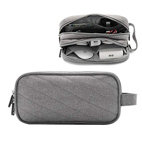 Eulan Double Layer Travel Universal Cable Organizer Electronics Accessories Cases for Cables, Headsets, External Flash Drive, Memory Card, Charger and More Accessories (Grey (Oxford)) Universal Memory Card Case