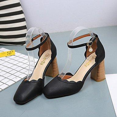 zhENfu Donna sandali di gomma Comfort estate passeggiate all'aperto Comfort fibbia Chunky tacco nero di mandorle sotto 1in Black