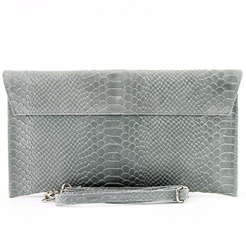 modamoda de - ital. Ledertasche Clutch Unterarmtasche Abendtasche Damentasche Handgelenktasche Leder Schlangenoptik T106S Grau