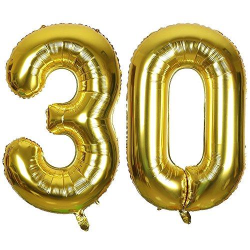 Ouinne Fête Ballons D'hélium Foil NO.30, 40 Pouces Articles de Ballon 30 Ans pour Anniversaire de Mariage Décoration (Gold)