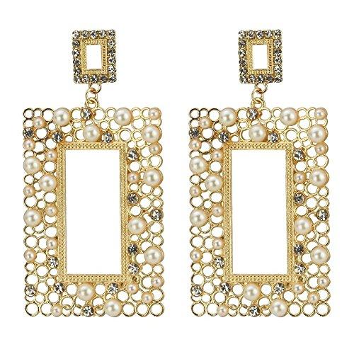 Perno e orecchini pendenti perline (rettangolo) in lega con perle di vetro e latta da Joe Cool