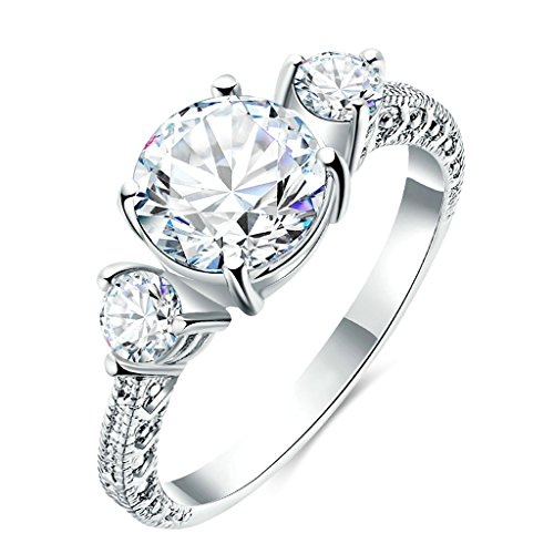 Gnzoe Gioielli,Placcato argento Moda Tondo Cubic Zirconia Anniversario Xmas Matrimonio Anelli per Donna Dimensione (Primo Uomo A Piedi Luna)