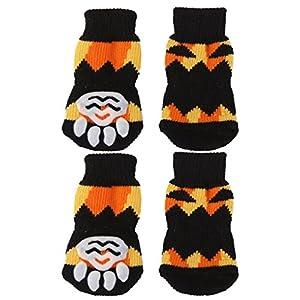 Ma-on 4pcs antidérapant Petit Chien Doggie Chaussettes pattes couvertures (Motif Halloween, S)