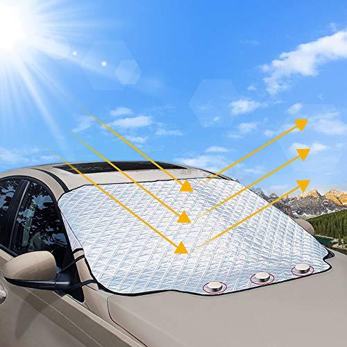 Frontscheibenabdeckung, unibelin Scheibenabdeckung Auto Abdeckung Sonnenschutzabdeckung Fixierung Faltbare Abnehmbare Windschutzscheibe perfekte gegen UV-Strahlung, Sonne, Staub, EIS, Frost und Schnee - Garage-boden-matte Auto Für