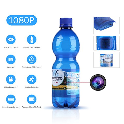 Convertido de una botella de agua real de la marca de fábrica, es la cámara espía de la detección del movimiento perfecta para la gente con necesidades especiales. Se puede utilizar para monitorear cualquier habitación sin llamar la atención de nadie...