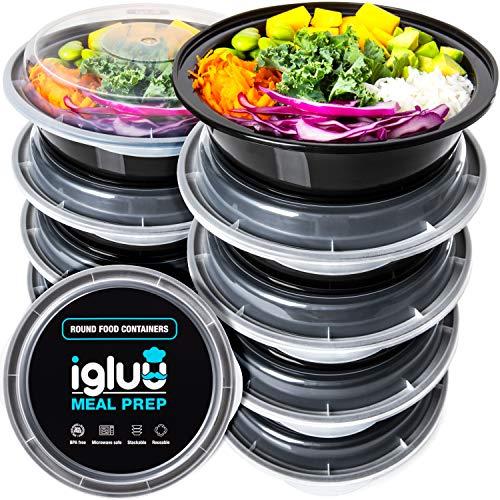 (set di 10) contenitori per alimenti circolari di plastica senza bpa con coperchi di chiusura ermetica - ciotole impilabili e riutilizzabili per cibo - adatti a microonde, freezer e lavastoviglie