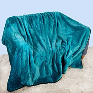Gaveno Cavalia Super Soft Faux Fur Fleece Plain Blanket Throw, Teal, Double, 150 x 200 cm