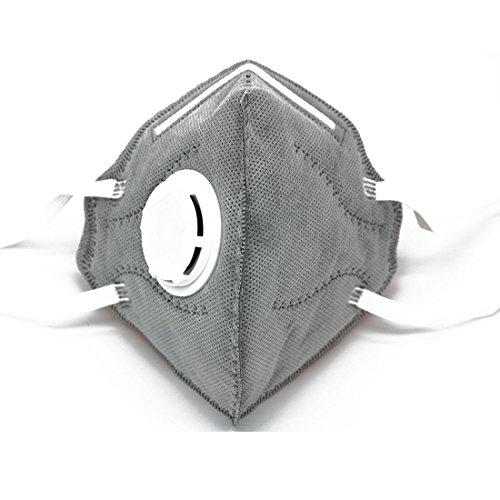 Máscara antipolvo para partículas más rápidas con válvula N95, filtro de 5 capas, longitud ajustable, máscara de boca desechable en paquete (12)