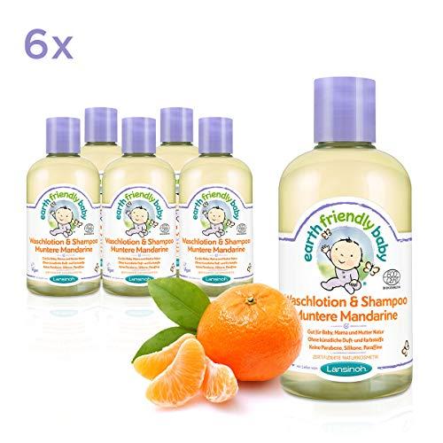 Earth Friendly Baby Waschlotion & Shampoo Muntere Mandarine, 6 Flaschen á 250 ml, 1500 ml, Sparpackung