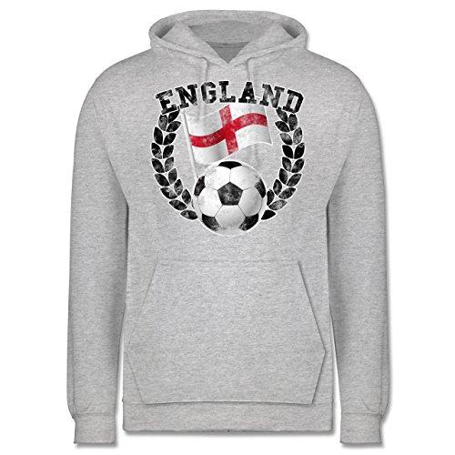 EM 2016 - Frankreich - England Flagge & Fußball Vintage - Männer Premium Kapuzenpullover / Hoodie Grau Meliert