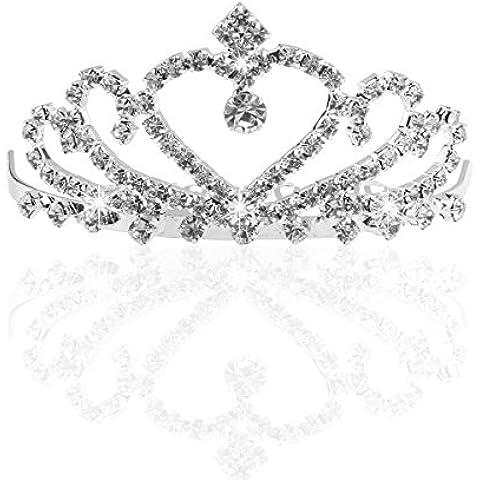ULTNICE Boda novia dama de honor cristal Tiara princesa Rinestone diadema con peine Pin