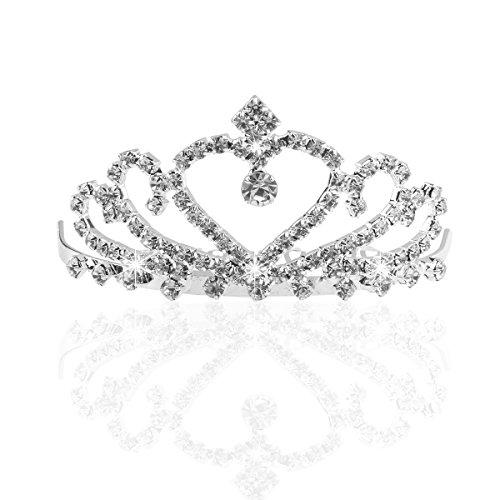 Pixnor Hochzeit Braut funkelnden Kristall Strass Krone Tiara Haarreif mit Kamm Silber (Damen Tiara)