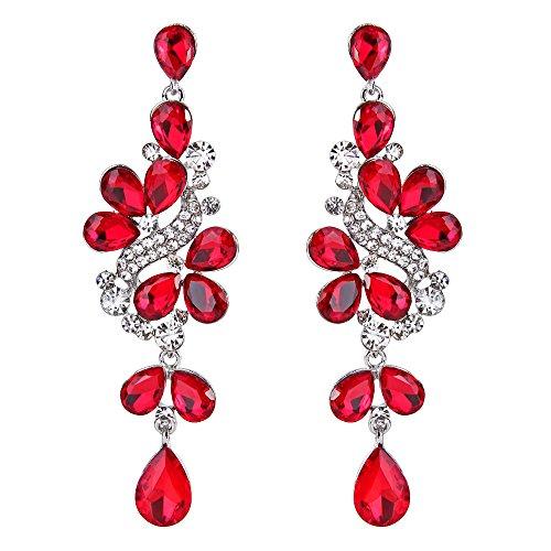 Clearine Orecchini Vittoriano Stile Cristallo Sposa Nuziale Grappolo Foglie Lacrima Ciondolo Orecchini Rosso vivo color