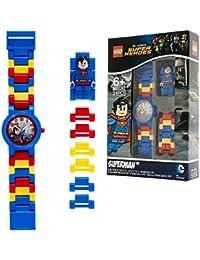 Reloj infantil modificable con figurita de Supermán de LEGO DC Comics Super Heroes; azul/rojo; plástico; 28 mm de diámetro; Cuarzo analógico| chico chica; oficial