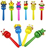 seguryy 1pc Cartoon Wooden Rattle Baby Kids Children Educational Toys Musical Toy Instrument Accessories