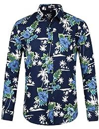 315660d5e5 Lars Amadeus Camisa Estampada Flor Hawaiana De La Palma De Aloha Manga  Larga Botón Abajo para