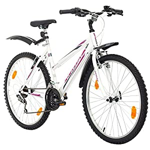 51nbflGrN2L. SS300  - Multibrand, PROBIKE 6th SENSE, 460mm, 26 inch, Mountain Bike, 18 speed, Mudgard Set, For Women, White-Turquoise (White-Turquoise+Mudguard, 17 inch)