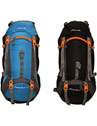Attache 1026R Rucksack, Hiking Backpack 75Lts (Sky Blue & Black) Set Of 2 With Rain Cover