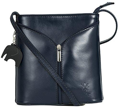 Big Handbag Shop Borsetta piccola a tracolla, vera pelle italiana Deep Navy - Plain