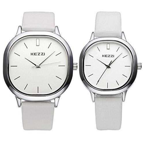 JSDDE Paaruhren Partner-Armbanduhr Quadra Armbanduhr Lederband Analog Quarzuhr Mutter&Tochter Paar Uhren Set,Weiss
