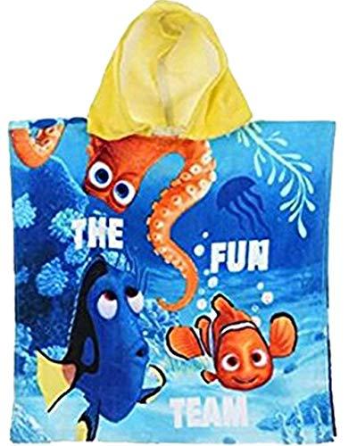 Badetuch Bademantel Kapuzen Poncho für Kinder Baumwolle – wählbar: Minions Winnie Dory PJMAsk Super Wings– tolles Geschenk für Mädchen und Jungen, Mehrfarbig Dory 2, 50x100 cm
