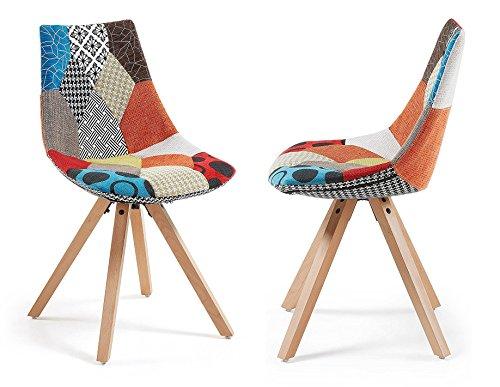 Meubletmoi Lot de 2 chaises tapissées Design Patchwork Pieds en Bois de hêtre - Collection Gretta