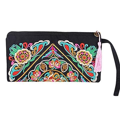 Sanwood Women's Retro Ethnic Embroider Purse Wallet Phone Bag (Galsang Flower)