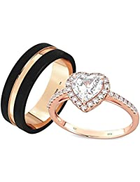 His And Hers '' 2pc'' Rose Gold Gp Tungsten Carbide / 925 Sterling Silver Wedding Engagement Couple Ring Set (Available Sizes K - Z+4) EMAIL US WITH YOUR SIZES