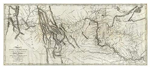 Global Gallery Map of Lewis and Clark's Track, Across The Western Portion of North America, 1814, Papierkunst, 116,8 x 53,3 cm -