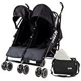 Zeta Citi TWIN Stroller Buggy Pushchair - Black Double Stroller With Bag
