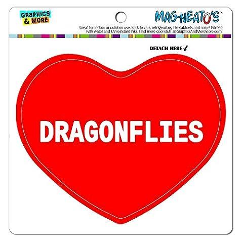 mag-neato' S Panneau de signalisation voiture (TM) aimant de réfrigérateur en vinyle Cœur I Love Animaux A-D, Dragonflies