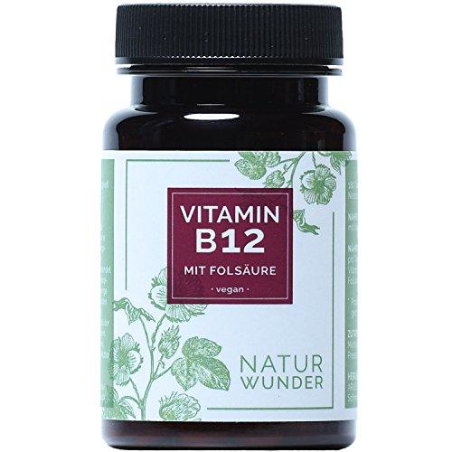 Vitamin B12 von NATUR WUNDER | mit Folsäure - Vitamin B9 | 180 Tabletten | 6 Monatsvorrat | 1000µg pro Tagesdosis | Methylcobalamin | Beste Bioverfügbarkeit | Vegan und hochdosiert | Premiumqualität | Hergestellt in Deutschland
