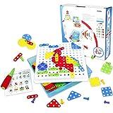 Mosaik Kit-Set, Steckspiele 3D Puzzle Bausteine mit Ein Schraubendreher und Schrauben 189 PCS für Kinder 3 4 5 6