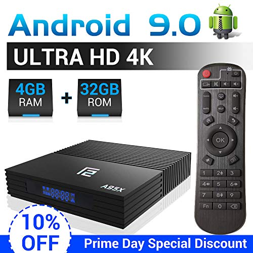 A95X F2 Android TV Box 【4G+32G】 Android 9.0 Smart TV Box Amlogic S905X2 Quad-Core Dual-WiFi 2.4G/5.0G/ 3D 4K Ultra HD/H.265/ USB 3.0/ HDMI 2.0 BT 4.2 Stmart Android Box