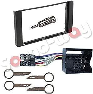 Sound Way 2 Din Autoradio Radioblende Radiorahmen Iso Verbindungskabel Antennenadapter Schlüssel Kompatibel Mit Ford Galaxy Fiesta