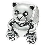 Dreambell .925 Sterling Silver Teddy Bear Sweet Heart Toy Bead For European Charm Bracelets by Fits PANDORA Charm