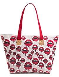H&B Jute Beach Bag/shopping Bag(Tote,Bleeding Lips-red,Large Size-19x13x6 Inch)