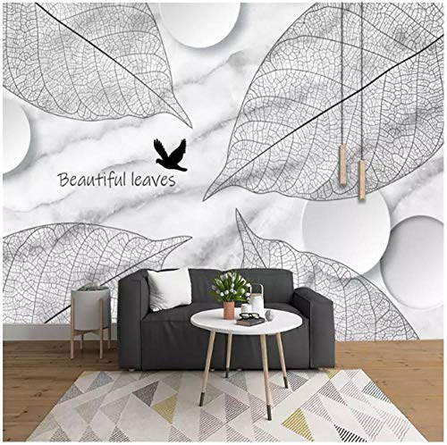 Httaxq Wallpaper Wallpapers 3D Hand-Painted Black And White Plant Leaves Veins Marble Backdrop Wall Papers Home Decor Murals@320 * 240Cm -