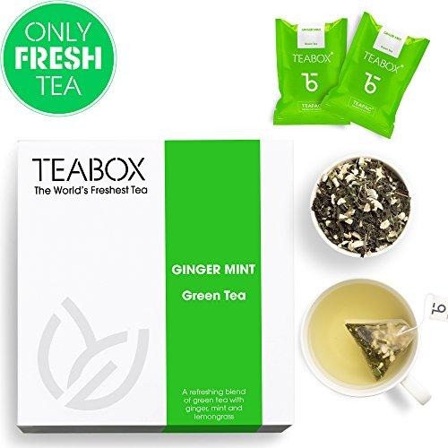 Teabox, Ginger Mint Grüntee, 40 g, 16 Teapac Teebeutel, aus Indien | koffeinarm, reich an Antioxidantien | Natürliche Inhaltsstoffe: Grüner Tee, Ingwer, Pfefferminze, Zitronengras. - Ingwer-pfefferminz-tee