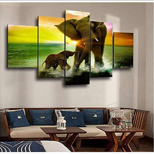 hhlwl Impreso Imagen Modular Grande 5 Paneles Animal Elefantes Pintura de la...