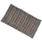 Multicolour Hand Woven Mat Recycled Chindi Cotton Rug Floor Throw Indian Carpet 72 X 42 Inches