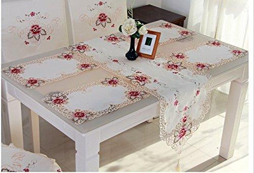 SAEJJ-Runner Panno di tabella casa tovaglia tovaglia poliestere giardino vento imposta abbigliamento Suite mobili tavolo e sedie , pink , 40*246cm - Raso Musicale Mobile