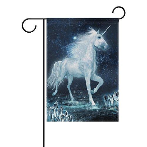 Weiß Einhorn langlebiges Polyester Welcome Flagge Home Flagge 30,5x 45,7cm 71,1x 101,6cm, Polyester, 12x18(in) ()