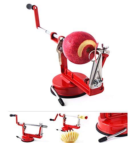 Grafner 3in1 Delux Apfelschäler | Schälen - Schneiden - Entkernen im handumdrehen | Farbwahl rot grün schwarz | Sparschäler Apfelschneider Apfelentkerner Gemüseschäler Farbe Rot
