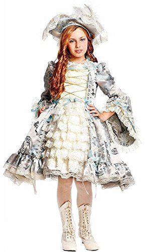 (Fancy Me Italienische Herstellung Mädchen Deluxe Silber Renaissance Piraten Karneval Halloween Kostüm Kleid Outfit 1-10 Jahre - 9 years)